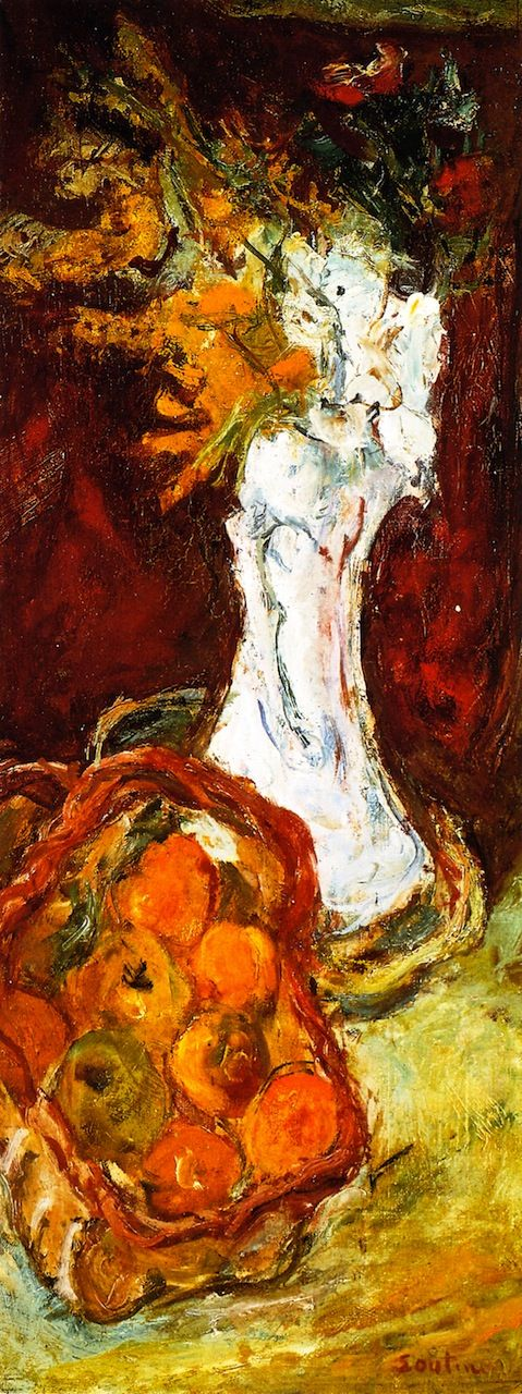 Still LIfe with Bouquet and Basket of Fruit, 1919 / Chaim Soutine
