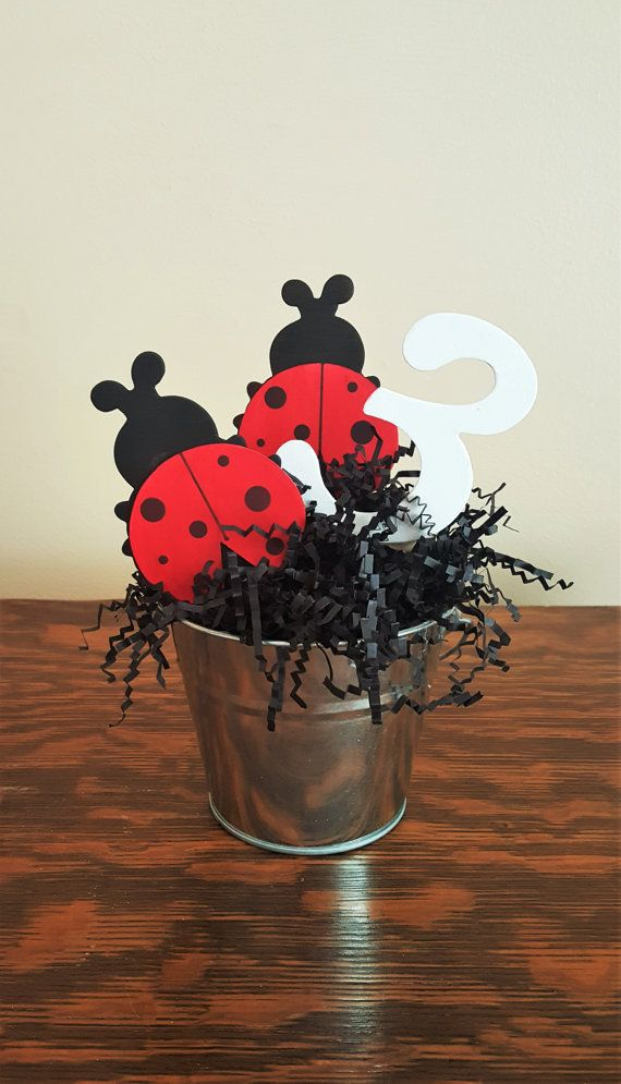 ladybug centerpiece, ladybug birthday party, girl birthday, ladybug party decor