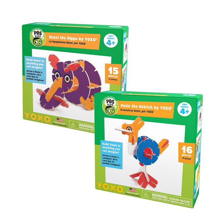 Yoxo / PBS Kids Hazel the Hippo + Ozzie the Ostrich Building Toy Set, Multicolor