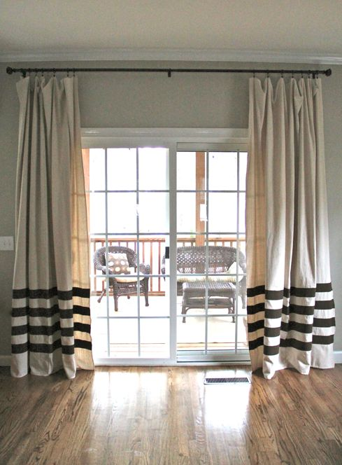 DIY painted drapes...Ballard Designs knock-off for way less.     http://thesoulfulhouse.com/2012/02/how-to-paint-striped-drapes-a-no-sew/