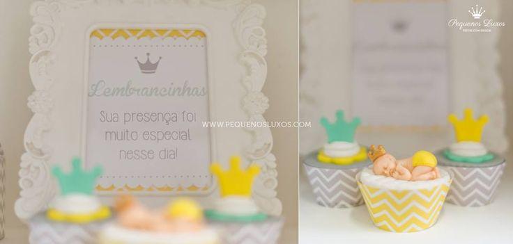 festa chevron amarelo cinza verde coroa menino party gray yellow chevron green boy crown cake pop cupcake Raka Minelli