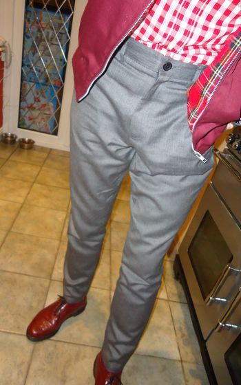 Sta-Prest trousers with red gingham shirt and burgandy harrington jacket