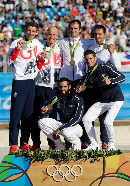 Silver medalists David Florence and Richard Hounslow of Great Britain gold…