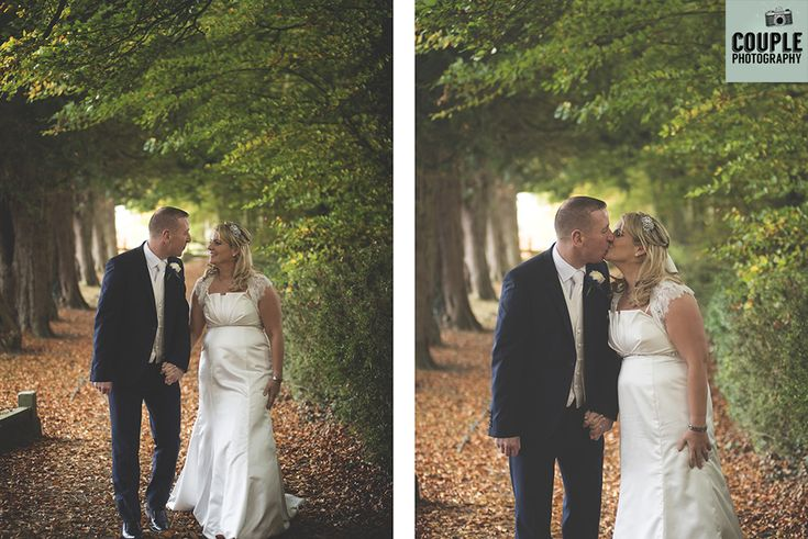 The bride & groom take a walk down a gorgeous leafy lane after their wedding ceremony. Weddings at The Heritage Hotel by Couple Photography.