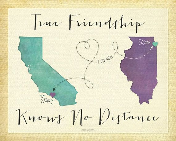 True Friendship Knows No Distance Gift, Personalized Long Distance Gift for Best Friend, BFF Map Art (16a)