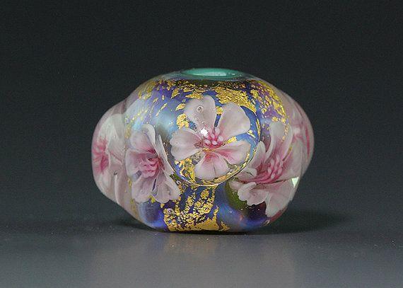 handmade lampwork focal silver glass gold leaves flower murrini bead by ikuyo sra