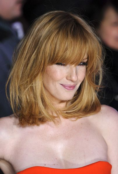 @Teri McPhillips Andriatch  Kelly Reilly Medium Straight Cut with Bangs - Shoulder Length Hairstyles Lookbook - StyleBistro