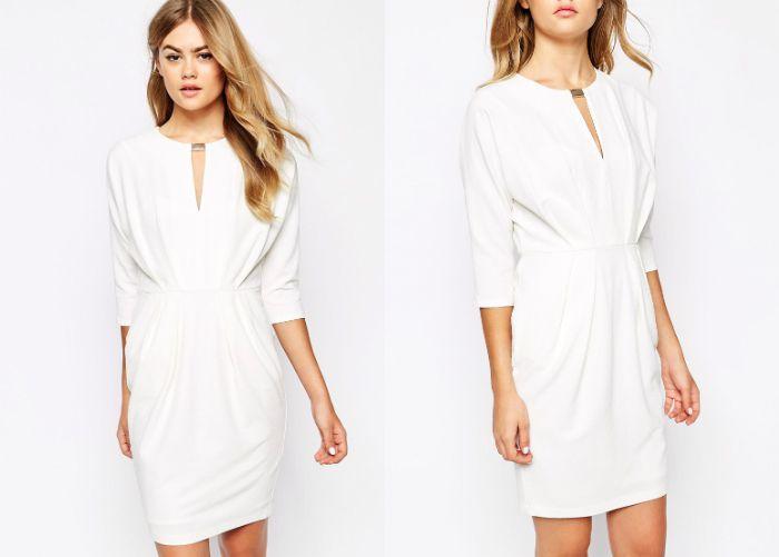 Biała marszczona sukienka, River Island