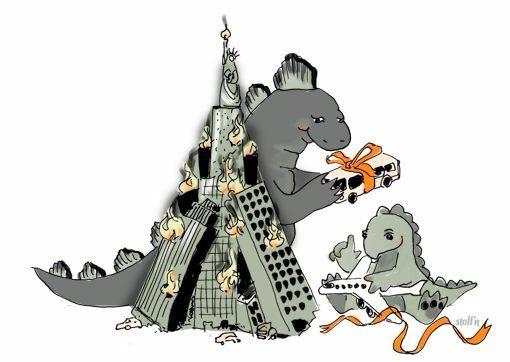 merry x-mas says Godzilla