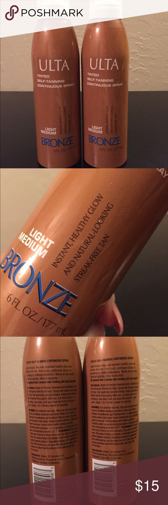 ☀️ULTA Self Tanning Spray (2)☀️ Self tanning spray by ULTA Beauty. Comes with two bottles of light/medium bronze shade. Each bottle is 6 fl oz. I test sprayed one of the bottles so one of them is not completely full but it's 80% full and the other bottle is 100% full. Purchased from Ulta Beauty. Makeup