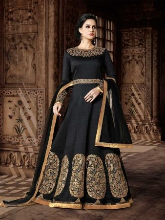 Black Designer Floor length Anarkali Suit - Design ZFSU1438