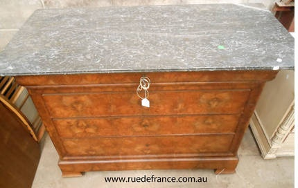 ANTIQUE FRENCH WALNUT CHEST OF 5 DRAWERS - LOUIS PHILLIPE STYLE with Marble top.