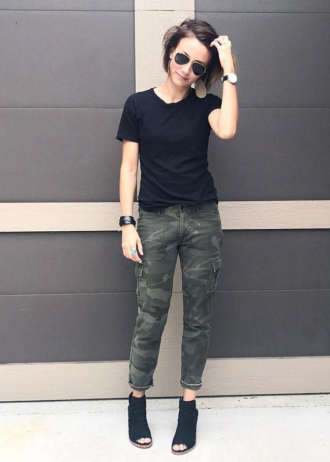 Black tee, camo pants cuffed, black peep toe booties. Outfit inspiration. OOTD. ... 11