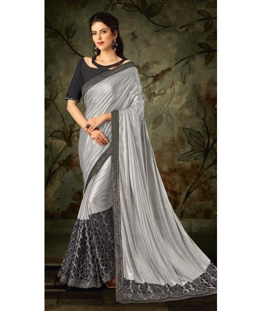 40fc184ebf14fe Pretty Silver Lycra Saree and Raw Silk Blouse MS1041551