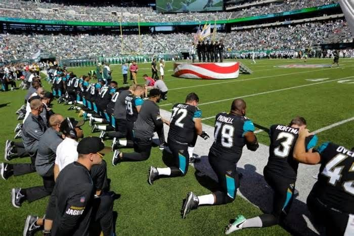 Brands are threatening to pull ads from NFL coverage if NBC keeps covering players' national-anthem protests Jacksonville Jaguars players kneeling during the national anthem before a game against the New York Jets. Thomson Reuters NBCUniversal says that marketers want the league to stop covering the players' national-anthem protests or they will pull their ads.