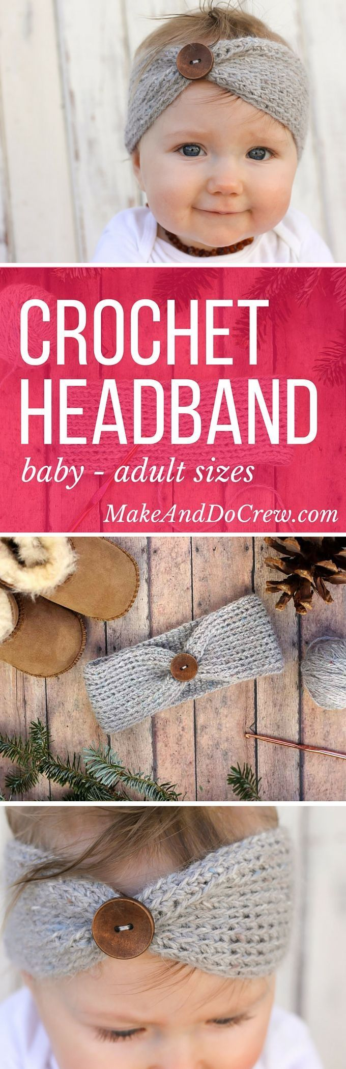 """Free crochet headband pattern! This """"Aspen Socialite"""" headband pattern sizes include, newborn, 3-6 months (baby), 6-12 months, toddler/preschooler, child, and teen/adult. Very quick DIY gift idea for a baby shower, Christmas or winter birthday. Click for"""