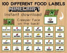 Minecraft Food Tent Cards Labels Favor Decorations Printable