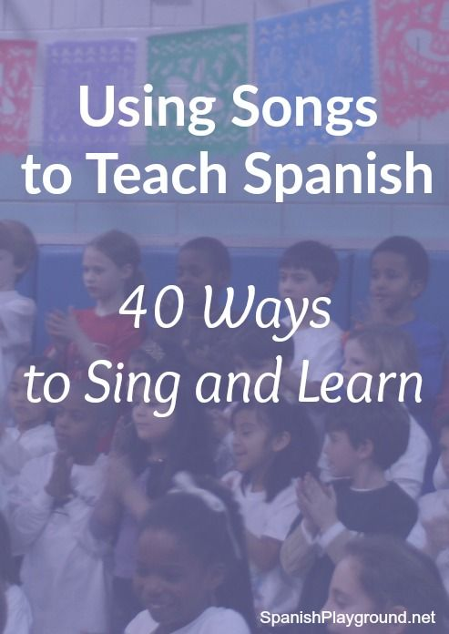 Songs are a huge help in raising bilingual kids. Over 40 ideas using movement, pictures, objects, reading and writing with songs to teach kids Spanish.