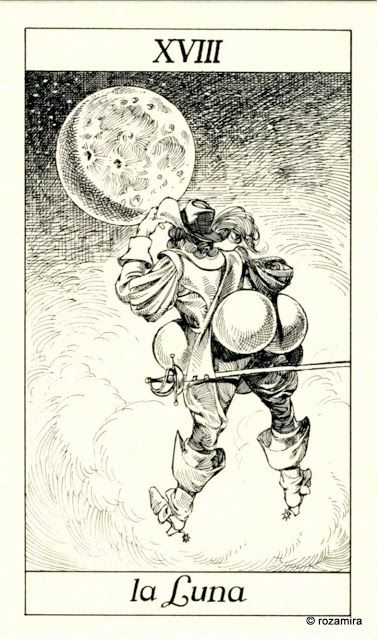 XVIII. The Moon - Tarot of the 3 Musketeers ( I Tarocchi del re Sole) by  Paolo Piffarerio