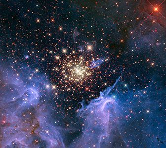 Like a 4th of July fireworks display, a young, glittering collection of stars looks like an aerial burst. The cluster is surrounded by clouds of interstellar gas and dust—the raw material for new star formation. The nebula, located 20,000 light-years away in the constellation Carina, contains a central cluster of huge, hot stars, called NGC 3603.  Milky Way : Nebula : Type : Star Formation Distance:	20000 light years Constellation:	Carina Category:	Nebulae