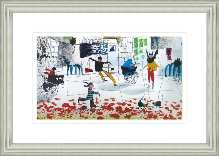 'Watch Out There's A Bike Coming' by Sue Howells. High Quality Reproduction Framed Print finished with glass panel & expertly framed by Spires Art framing team. Size: 14in X 18in