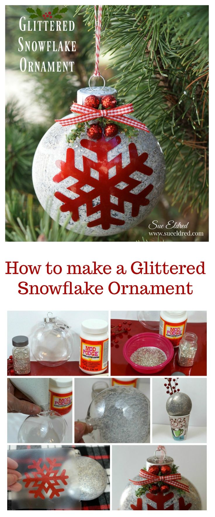 How to make a Glittered Snowflake Ornament from Sue's Creative Workshop www.sueeldred.com