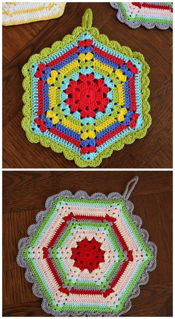 Pretty vintage crochet kitchen potholder, dishcloth, hot pad free pattern.