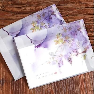 Wisteria Ancient Wind Retro Sulfuric Acid Paper Translucent Aesthetic Envelope Chinese Wind Classical Student Stationery Dd1087