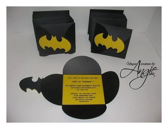 Batman invites by Angieuniquecreations on Etsy, $30.00