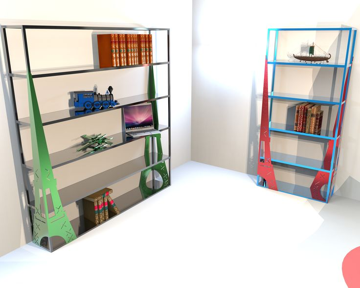 Libreria moderna che richiama alla mente le meraviglie della Tour Eiffel e di Parigi. Realizzata in metallo o con ripiani in legno nuovo o di recupero. Ideale per tutti i locali e gli studi di importanti realtà.