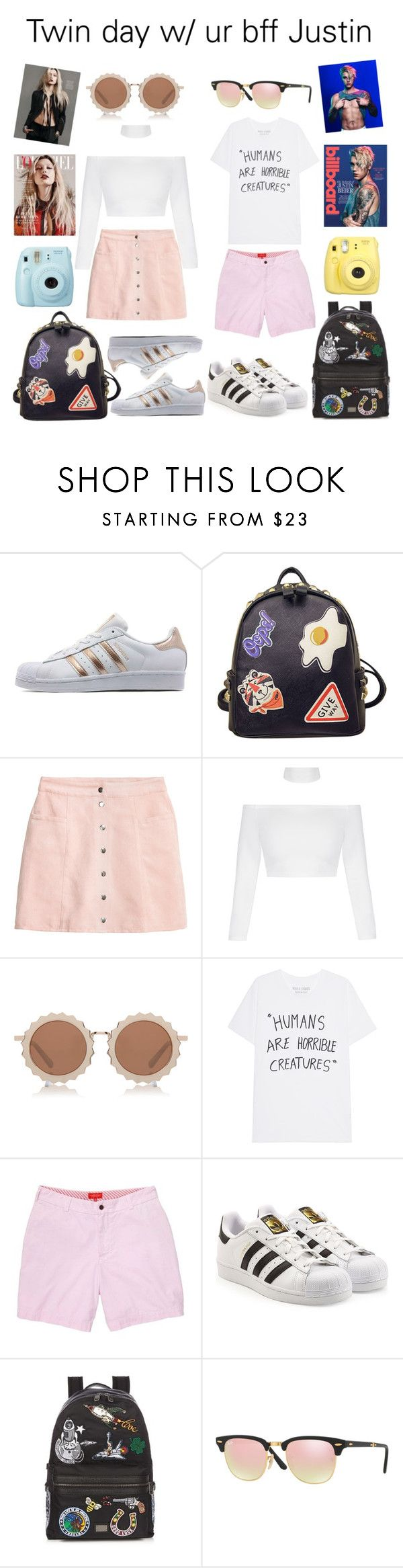 """twin day w/ your best friend Justin"" by poczustin ❤ liked on Polyvore featuring adidas Originals, WithChic, Fuji, House of Holland, Southern Proper, Dolce&Gabbana, Ray-Ban, Fujifilm, Justin Bieber and Baldwin"