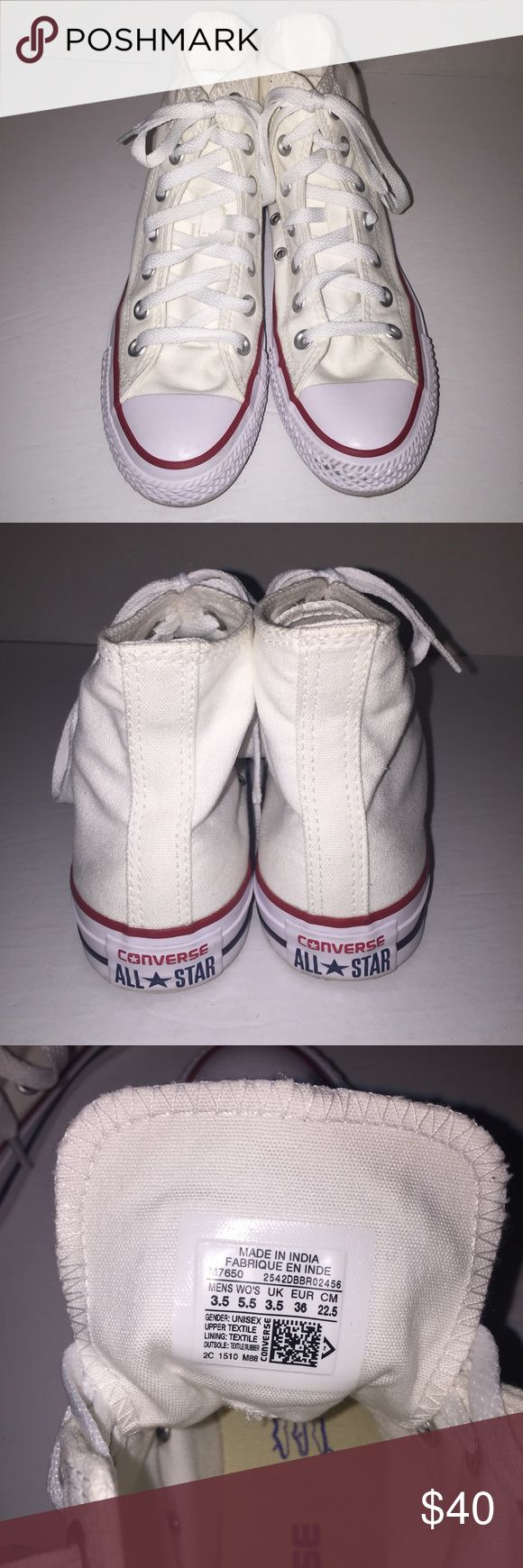Converse Chuck Taylor White High Top Sneakers 5.5 Worn before , no trades , send me a offer need to move , is Womens size Converse Shoes Sneakers