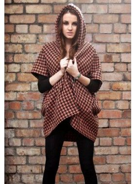 Silver Birch Pink and Black Houndstooth Cape. Buy @ http://thehubmarketplace.com/index.php?route=product/product&product_id=1700