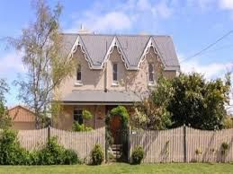 """Baptist Manse, Perth - Constructed with the support of the Gibson family of """"Scone"""", circa 1880. Double Georgian Gothic style with concave veranda and wooden tracery."""