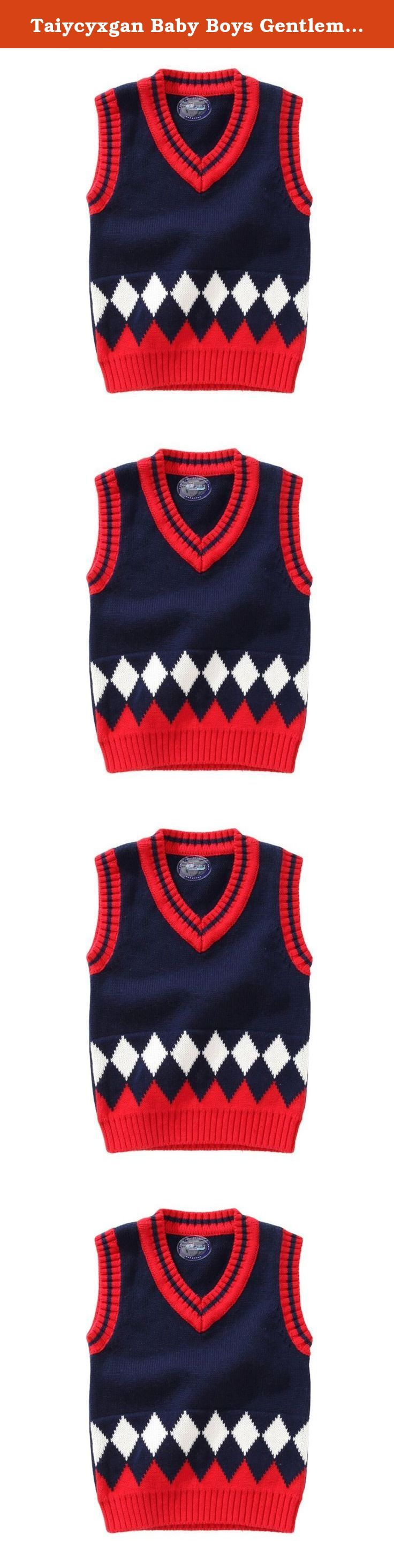 """Taiycyxgan Baby Boys Gentleman Knitted Vest Sweater Thicken Deep V Waistcoat. Size Detail: 6-12 months: Length:13.8""""; Bust:20.5""""; Shoulder:9.4""""; 1-2 years: Length:14.8""""; Bust:21.3""""; Shoulder:9.8""""; 2-3 years: Length:15.4""""; Bust:22""""; Shoulder:10.2""""; 3-4 years: Length:16.5""""; Bust:23.6""""; Shoulder:10.6""""; 4-5 years: Length:17.5""""; Bust:25.2""""; Shoulder:11""""."""