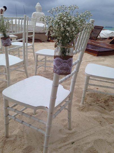 CBD219 Riviera Maya Weddings bodas / Mason Jar with baby breath/ Mason jar con nube y encintado de yute con encaje