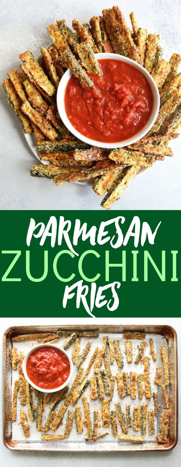 Delicious and addicting Parmesan Crusted Zucchini Fries make a perfect low carb and gluten free appetizer, side, or snack! So insanely yummy!!