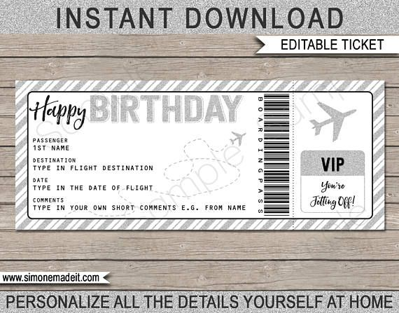 Birthday Gift Airplane Ticket Printable Boarding Pass Voucher Surprise Trip Reveal Silver Instant Download With Editable Text Surprise Trip Reveal Gift Certificate Template Ticket Template