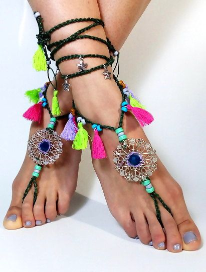 barefoot sandals Barefoot Beach Jewelry Barefoot shoes, Beach Jewelry Hippie Foot Jewelry, festival accessories, yoga toe, anklet , garden