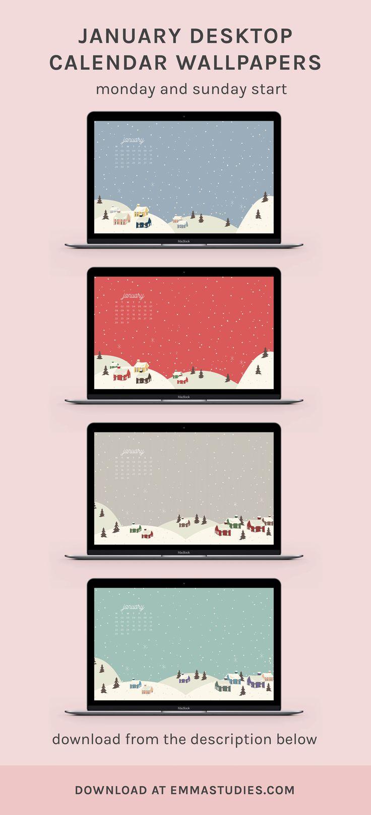 2018 january desktop wallpapers calendars by emmastudies
