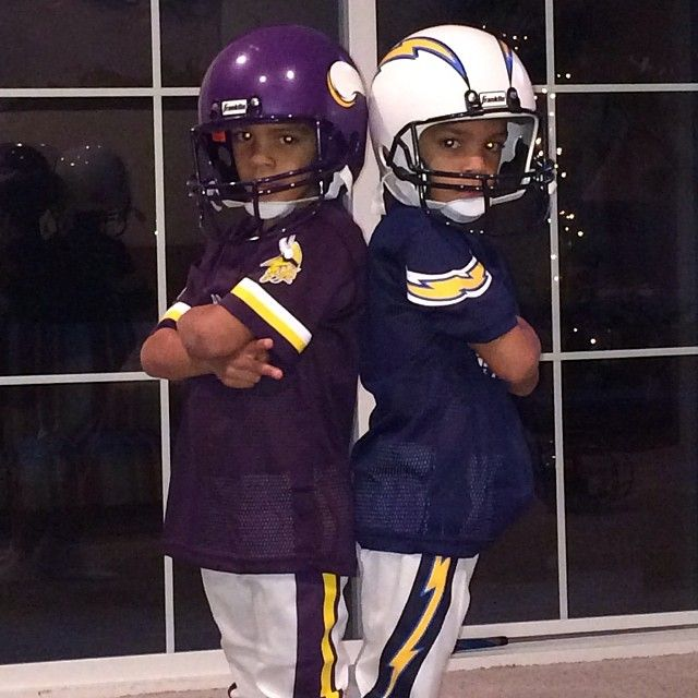 Boys with their new football unis from Santa! Colts vs Chargers & 49ers vs Seahawks..