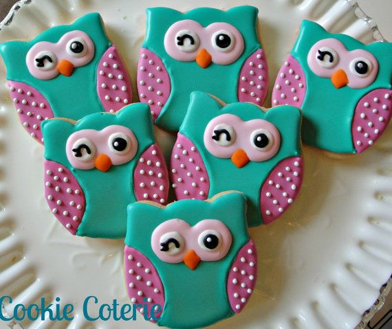 Winking Owls and Chevron Print Decorated Cookies Owl Baby Shower or Owl Birthday…