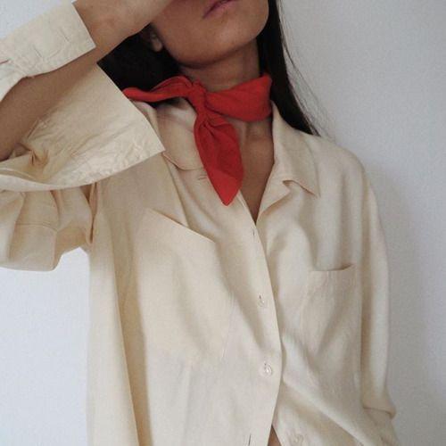 Marie Van Nguyen | Cream shirt top | Red neck scarf | Collar detail tie