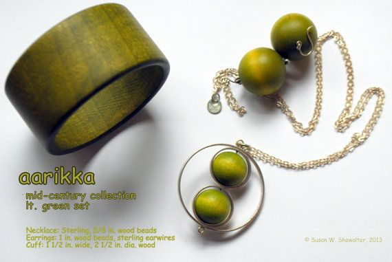 Vintage Light Green Wood and Silver Circle by PeaceDoveJewelry, $67.50