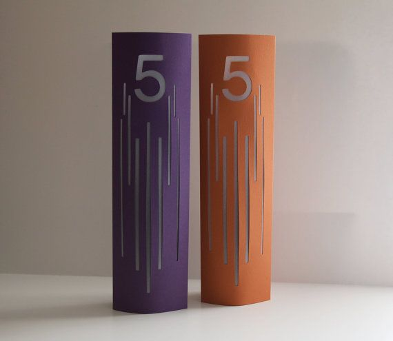 Lines Wedding Table Number Luminaries / Table Markers / Modern Table Numbers / Art Deco Table Numbers
