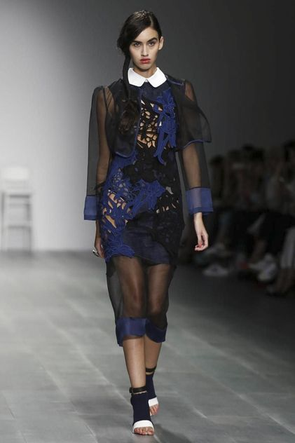 Bora Aksu Ready To Wear Spring Summer 2015 London - this piece an example of the designers theme of darker sides to fairy stories. The garment construction ideas are still the same however a much darker intense colour palette has been used.