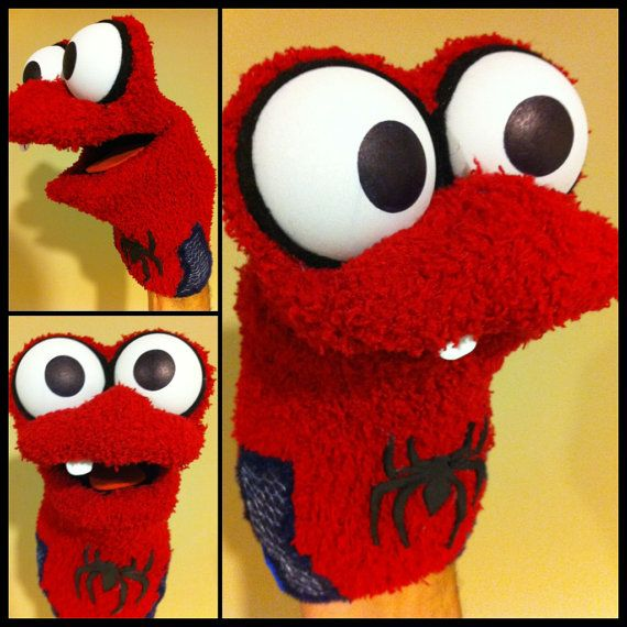 Spiderman Sock Puppet by jimill on Etsy, $28.00