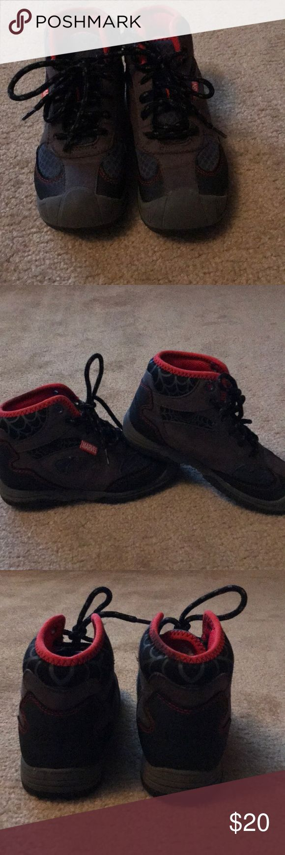 Boys marvel Spider-Man work boots Boys size 12 Spider-Man workboots by MARVEL Gray suede and navy canvas upper with spider and web details and red accents. Rubber sole with toe bumper  Worn only a handful of times, and are practically new! Marvel Shoes Boots