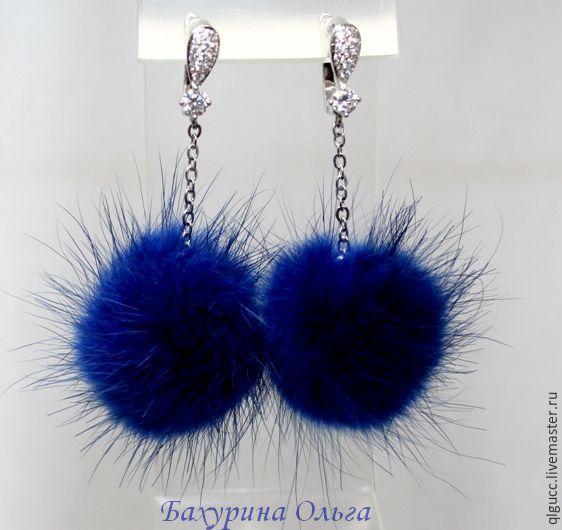 Купить Серьги из меха норки ярко синего цвета - синий, серьги ручной работы