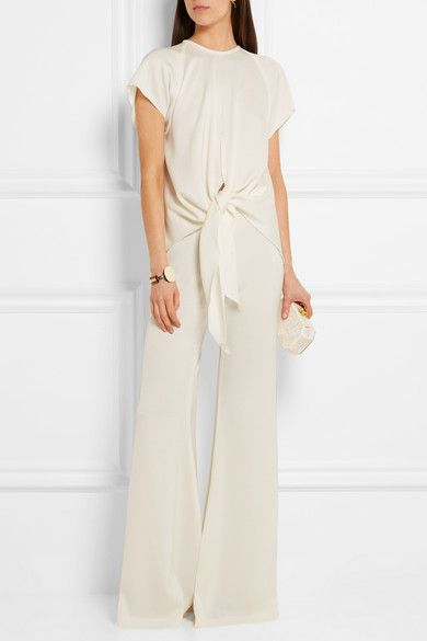 Ivory satin-crepe Concealed zip fastening along back 80% acetate, 20% polyester Dry clean Imported